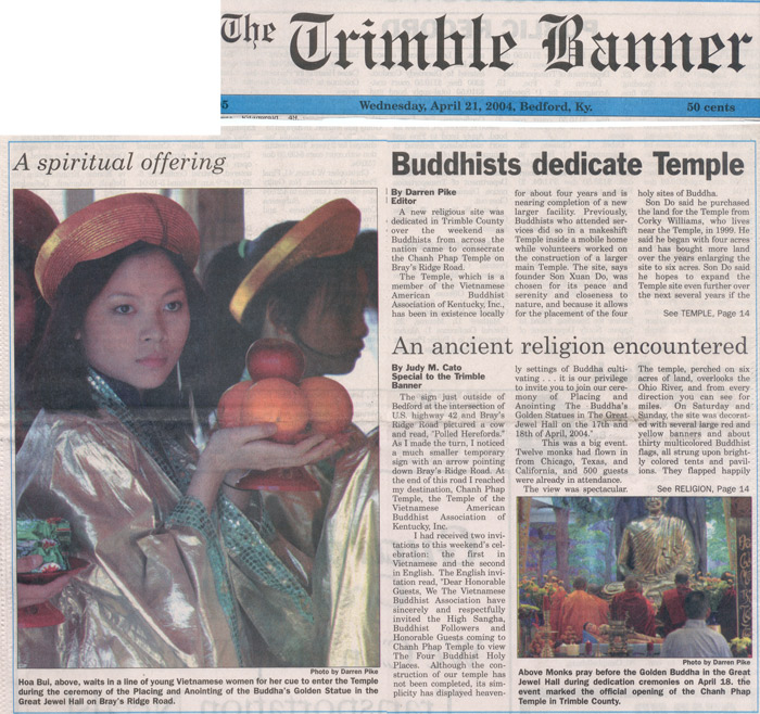 Story from Trimble Banner on Buddhist Temple Opening